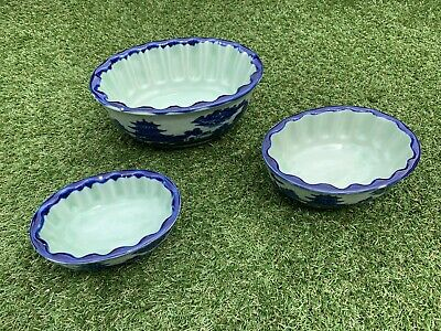 Vintage Set Of Three Antique Ironstone Stone Ware Fish Mould Blue White  • 14.99£