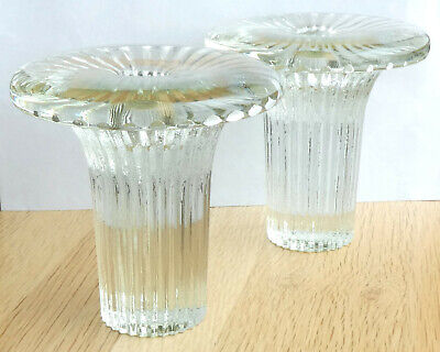 Pair Of Dartington Glass Mushroom Shaped Candle Holders • 20£