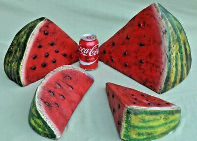 Hand Painted Terracotta Pottery Oversize Water Melon Slices South American  • 30£