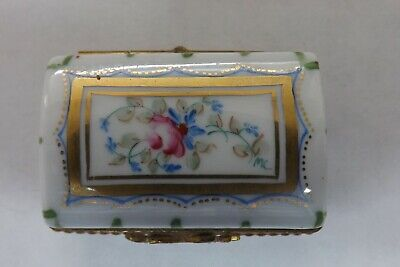 Limoges France Hand Painted Pill Box Peint Main  Pink Flowers 4.25cms (1910) • 29.99£
