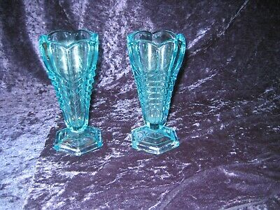 Vintage Pair Of Turquoise Glass Vases • 5£