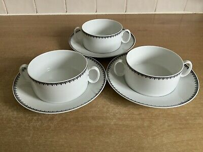 Thomas Black Lace 3 X Soup Coupes And Stands • 24£