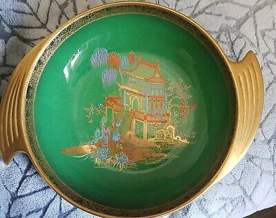 Stunning Carlton Ware Vert Royale Winged Bowl Mikado Art Deco • 12.99£
