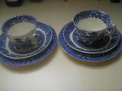 Two Burleigh Ware Trios In Willow Pattern. • 18.50£