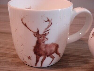 2 Wrendale Mugs By Royal Worcester Hare & Stag Fine Bone China • 5.50£