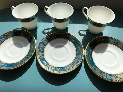 3 X Royal Doulton Carlyle Tea Cups And Saucers VGC • 12£