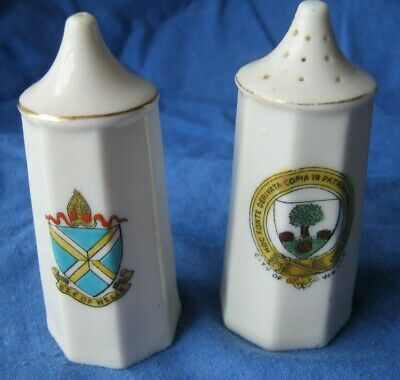 Arcadian China Crested Ware Salt And Pepper Pot Wells • 15£