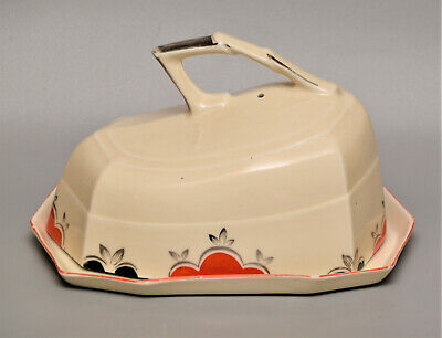 Czech ART DECO  JAZZ  Patterned Handle Butter Cheese DISH C1920s • 1.99£