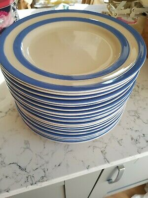 RARE TG Green Cornishware Plate 30cm/Large/Serving/Cake Blue Stripe 2nd Quality • 5£