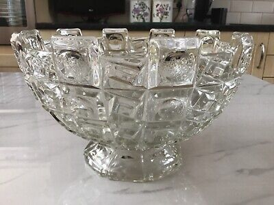 Very Large Heavy Vintage Moulded Glass Fruit / Trifle Bowl On Foot • 12£