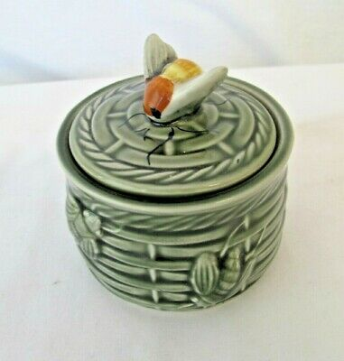 Beehive Honey Pot With Lid Green Ceramic • 3.99£