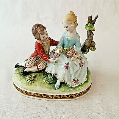 Capodimonte Porcelain Boy And Girl Dresden Lace Dress Figurine • 60£