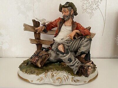 Capodimonte Porcelain Figure Of A Tramp On Park Bench • 25£