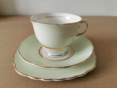Colclough Harlequin Vintage Bone China Teacup Trio, Pale Green, White And Gold • 3.90£