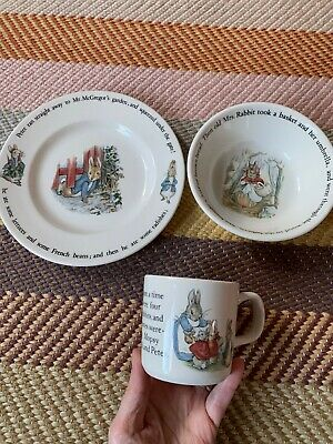 Adorable Peter Rabbit Wedgwood, Bowl, Plate, Mug Set In Great Condition • 15£