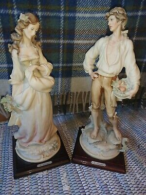 Vintage G.ARMANI Figurines - Girl With Flowers, Boy With Fruit Basket 1983 - VGC • 75£