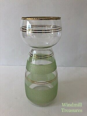 VINTAGE 1950s GLASS GREEN SUGAR FROSTED GILDED HYACINTH VASE - GOOD CONDITION • 11.99£