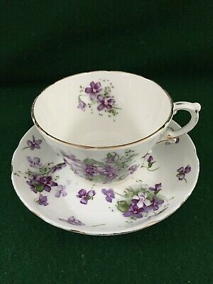 [B] HAMMERSLEY VICTORIAN VIOLETS Rare LARGE BREAKFAST CUP & SAUCER SET • 19.95£
