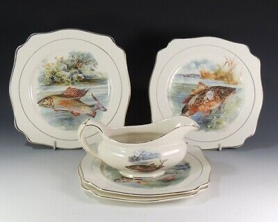 Wilkinson Royal Staffordshire Pottery Set 4 Fish Plates And Sauce Jugs • 6.99£
