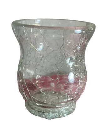Modern Clear Crackle Glass Vase Candle Holder Romantic Atmosphere Home • 9.96£