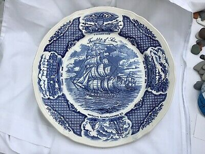 Vintage 'The Friendship Of Salem' Picture Plate Blue And White -26.5cm Unstamped • 2.49£