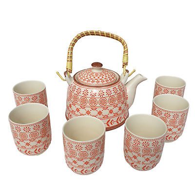 Chinese Herbal Tea Set - Amber Pattern - 6 Cups And Infuser - Boxed • 23.85£