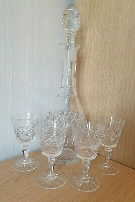 Cut Glass Decanter With Four Cut Glass Sherry Glasses From 1960's • 0.99£