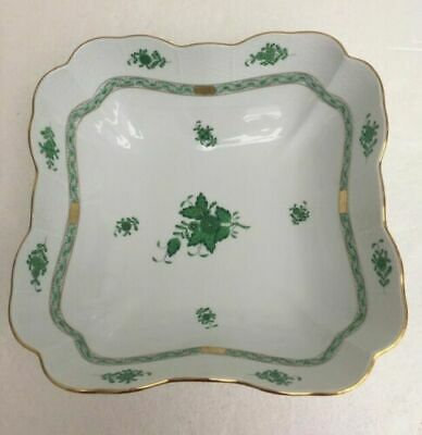 Herend GREEN Chinese Bouquet 25cm/10  Square Salad/Serving Bowl - Free P&P • 180£