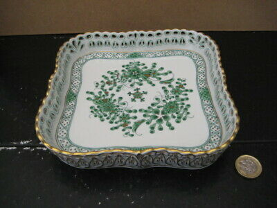 Vintage Herend Hungary Waldstein Reticulated Pierced Square Tray 7510/wl Green  • 99.99£
