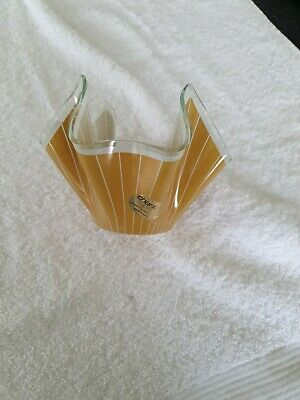 Vintage  CHANCE  Handkerchief Cordon VASE - Mustard Stripe With Label • 2.85£