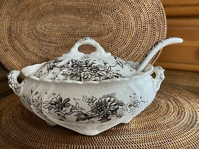 ?Ridgway And Co Grey Flower Pattern Tureen Dish With Ladle On Stand 23cm By 13cm • 20£