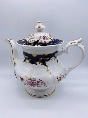 Ridgway 2/5709 Rare Chantilly Pattern Blue And Gold Antique China Teapot C.1810 • 60£