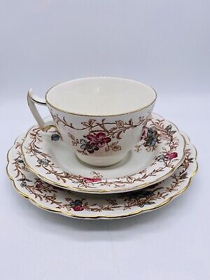 Booths -a8077 Floral Roses And Gold Gild China Pretty Trio Teacups • 15£