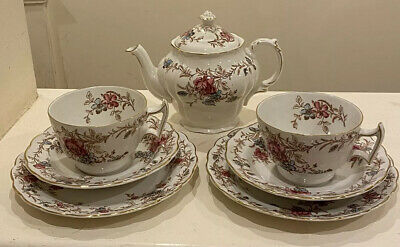 Booths A8077 Floral Roses & Gold Gild China Pretty Trio Teacups & Teapot Teaset • 55£