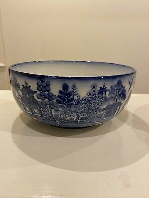 """Minton Blue And White Willow Pattern Transfer Antique 8"""" Diameter Bowl • 25£"""