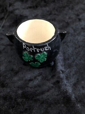 Antique Black Shamrock Portrush Pot Souvenir Co Londonderr Irish • 8£
