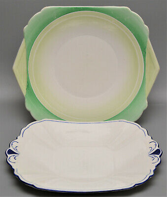 PAIR SHELLEY Staffordshire Porcelain Cake Plates / Stands TWO SHAPES • 2.99£