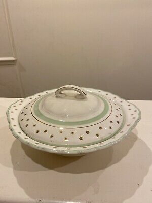 Woods Ivory Ware Gold Gilt Star And Pale Green Ceramic Tureen   • 10£