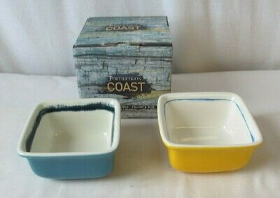 Portmeirion Pottery Coast Square Dip Bowls X2 Boxed Yellow & Blue • 3.99£