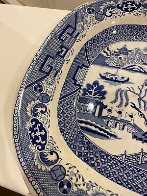 Antique Circa 1809-1827 Willow Pattern Twiggs Antique Meat Platter Large  • 45£