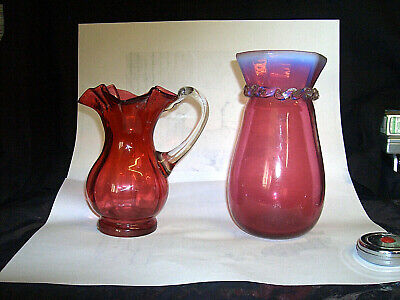 Vintage Antique Hand Made/blown Cranberry Opalescent Top Vase With Cream Jug • 19.99£