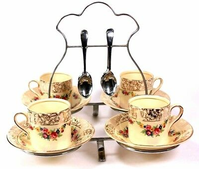 Vintage Four Place Coffee Set Plated Stand Spoons Cups And Saucers Circa 1940 • 55£