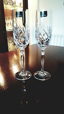 2 Tall Royal Doulton Crystal Cut Glass Champagne Processco Flutes Daily Mail  • 20£