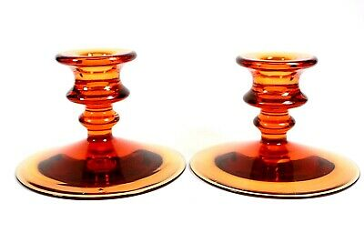 Amber Glass Candlesticks Probably Wedgwood Factory Circa 1970 • 75£