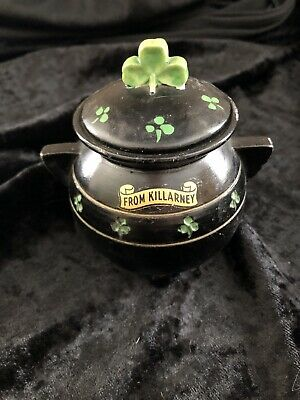 Irish Black Pot Souvenir Killarney Antique • 12£