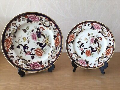 Mason Ironstone Blue Mandalay 2 X Plates - With Display Stands. Free Delivery. • 15£