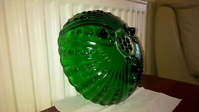 Vintage Art Deco Green Glass, Footed Fruit/ Trifle Bowl • 15£