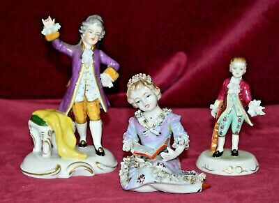 Antique Dresden Porcelain Figurines Set Of Three • 38£