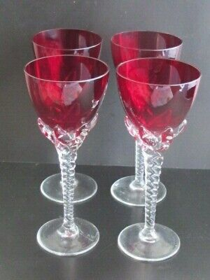 Antique Set Four Ruby Red Drinking Glasses Twisted Stem Claw Setting C1930's • 28£