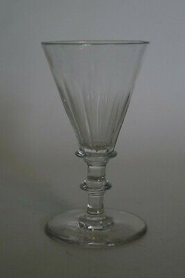Antique Facet Cut Flute Drinking Glass With Bladed Knop & Seat & Snapped Pontil • 23.95£